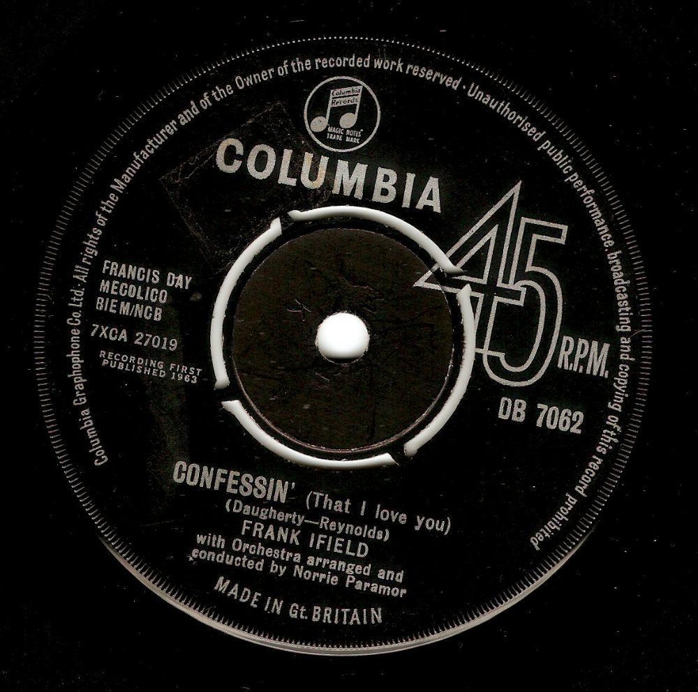 FRANK IFIELD Confessin' (That I Love You) Vinyl Record 7 Inch Columbia 1963